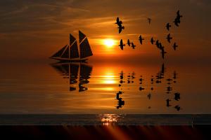 sundown,ocean,silence