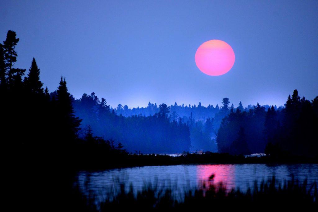 sunset, son, eau